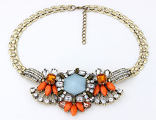 Luxe Faceted Stone Bib Necklace New Fashion Statement Necklace cxt9171(China (Mainland))