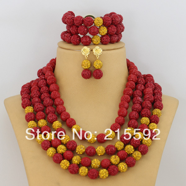 Necklace Coral Beads Jewelry Set Carved Rose Flower Coral Beads African Wedding Jewelry Set 2014 New Free Shipping CJ019<br><br>Aliexpress