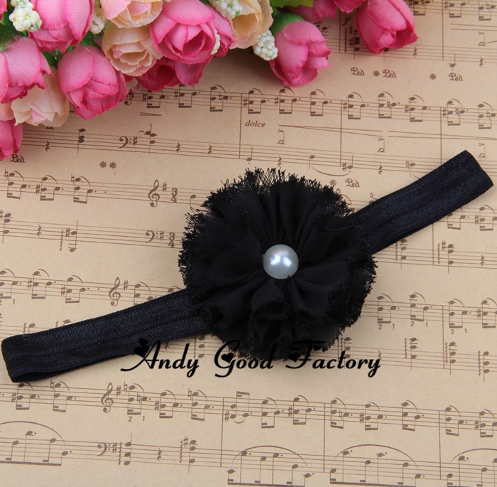 20pcs/lot New Shabby Chiffon Flower Baby Headband Shabby Chic Flowers With Pearl Center Girls Fashion Headband Cheap Price HB033(China (Mainland))