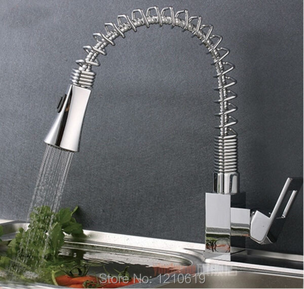 Здесь можно купить  Newly US Free Shipping Spring Pull Down Spout Kitchen Sink Vessel Faucet Chrome Finish Mixer Tap Single Handle Deck Mount Newly US Free Shipping Spring Pull Down Spout Kitchen Sink Vessel Faucet Chrome Finish Mixer Tap Single Handle Deck Mount Дом и Сад