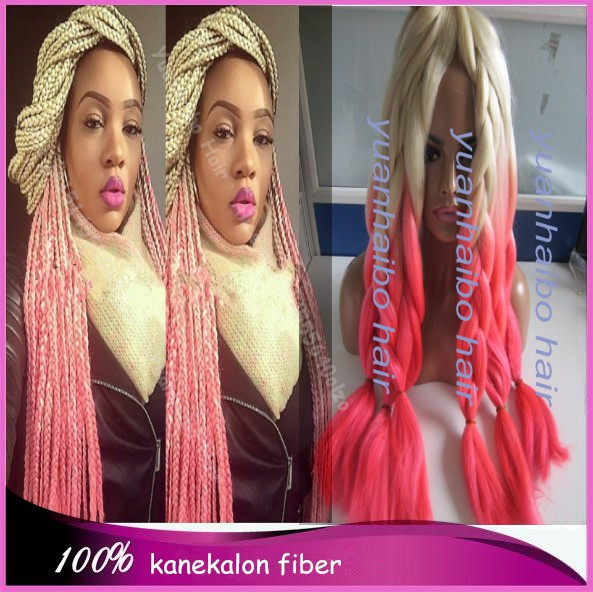 Stock! 20in folded two tone blonde/pink 100 synthetic ombre kanekalon jumbo braid hair free shipping(China (Mainland))