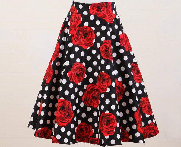 black white polkadot full circle skirt high waist pocket red rose flower print american apparel UK style xxxl jupe femme vintage(China (Mainland))