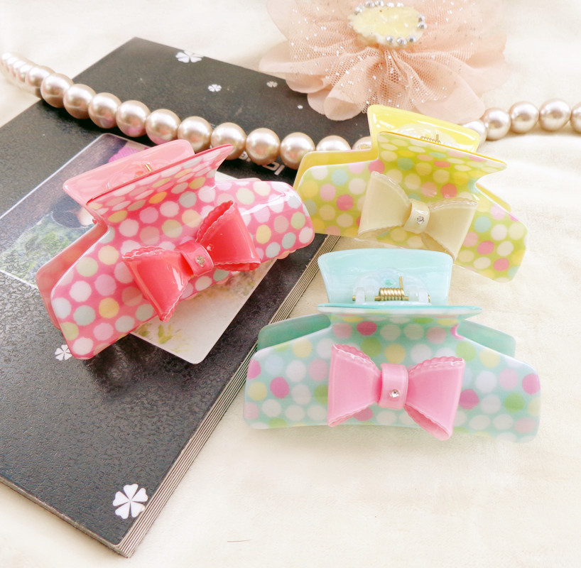848 Newest hair claw clip Chinese goods Hairpin Bow Acrylic Girl's accessories Flity catch Grip - Zihua Headdress store
