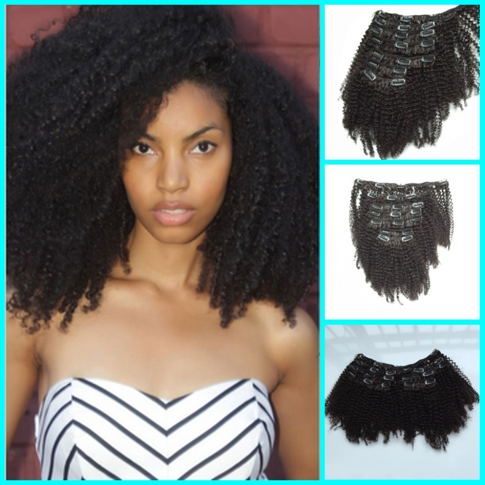 7A Malaysian  Hair Full Head Afro Kinky Curly Clip In Hair Extensions 7pcs set  Clip On Hair Extension Hairpiece<br><br>Aliexpress