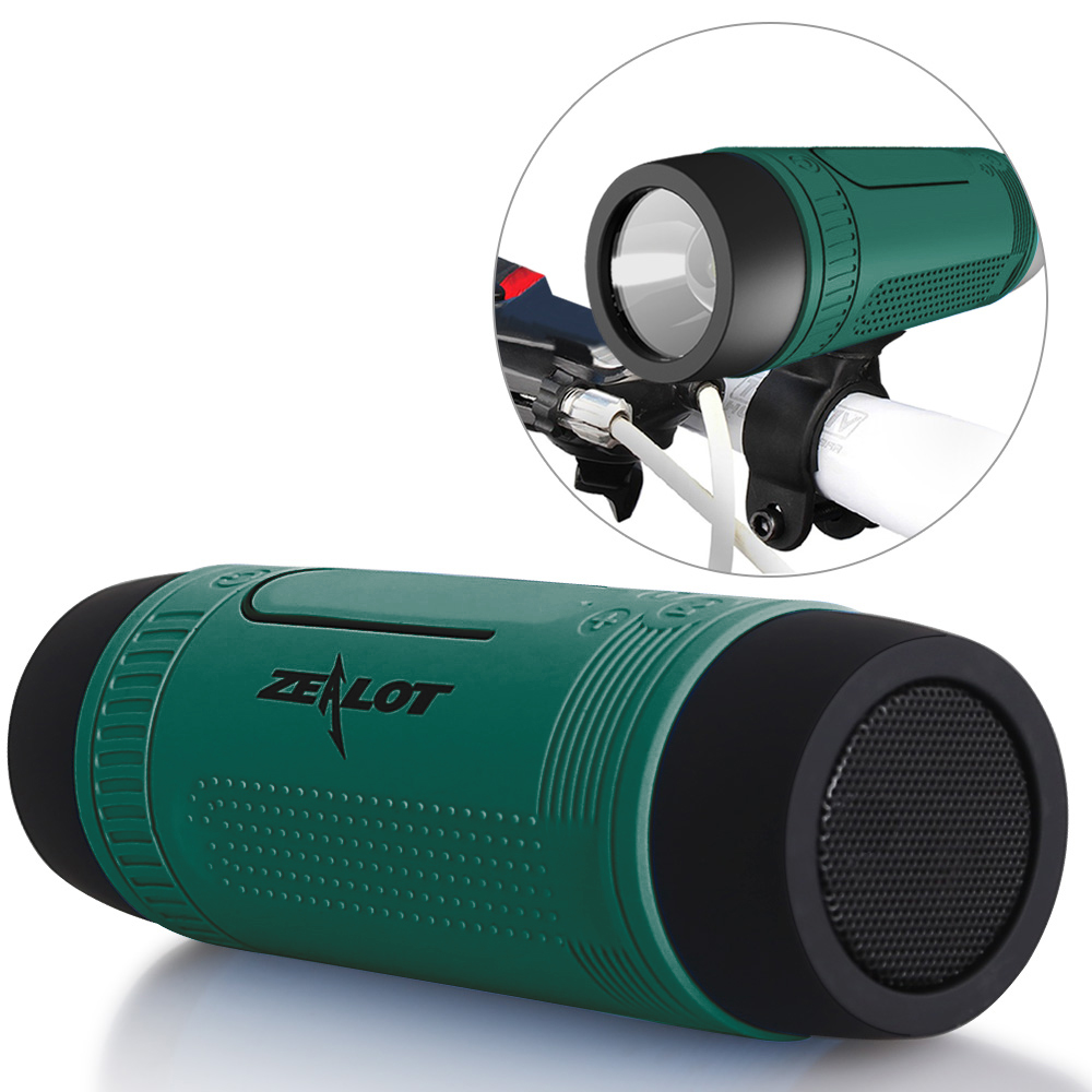 [US-Direct] Zealot S1 Mini Wireless Bluetooth Bike Speaker Power Bank Emergency Torch TF card Slot for Outdoor Cycling(China (Mainland))