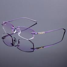 Titanium Alloy Glasses Frame Original Brand Women Rimless Frames Diamond Trimming Cut Rimless Glasses With Gradient Tint Lenses