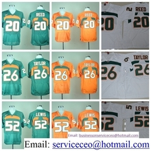 College Miami Hurricanes 20 Ed Reed 15 Brad Kaaya Shirt 26 Sean Taylor 52 Ray Lewis Green Orange White product(China (Mainland))