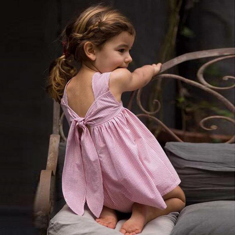 2016 European&America Style Girl Dress Bowk Striped Princess Toddler Girl Dress Kids Clothings(China (Mainland))