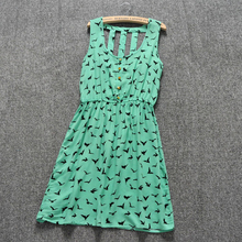 Summer Style 2016 Women Casual Dress Eagle Leopard Print Green Summer Dress vestido backless Dresses Plus Size Women Clothing(China (Mainland))