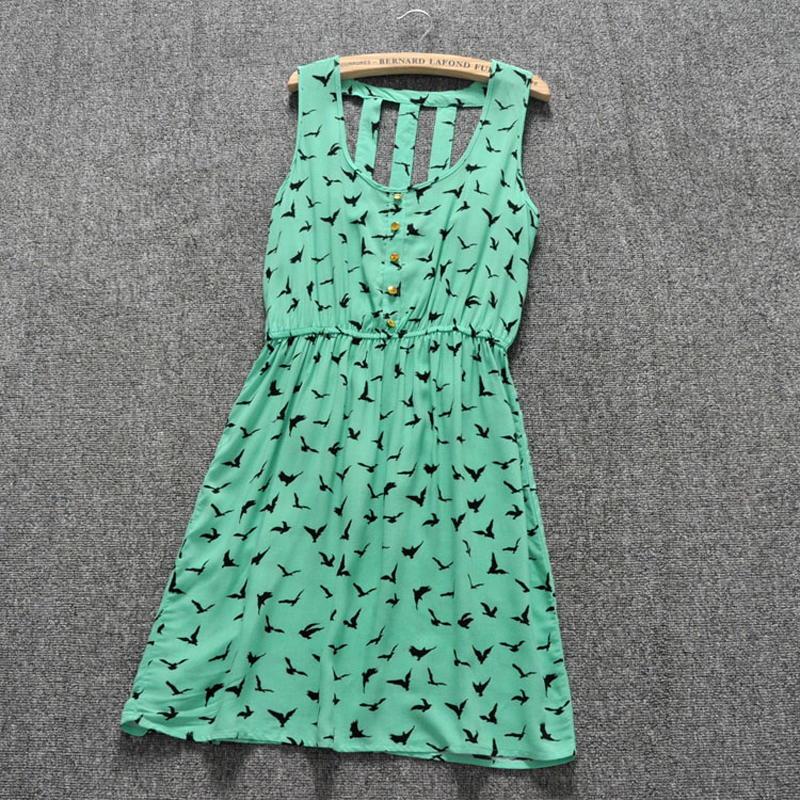 Summer Style 2015 Women Casual Dress Eagle Leopard Print Green Summer Dress vestido backless Dresses Plus Size Women Clothing(China (Mainland))