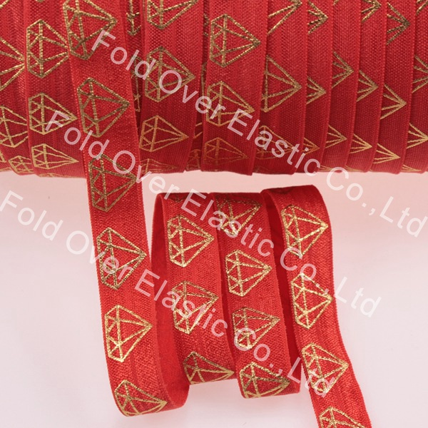 """Hot sale gold foil diamond 5/8"""" fold over elastic #235-poppy red, high quality elastic band, 100yards/roll(China (Mainland))"""