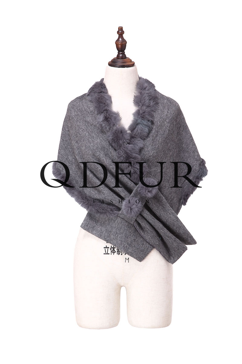 2016 Special Design Autumn Winter Christmas Gift Wool Rabbit Collar Luxury Women Shawl Wraps Pure Color Fashion Scarf QD82035(China (Mainland))