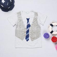 2015 limitée Top Fashion garçons garçons vêtements enfants t-shirt 100% coton manches enfants chemises cravate faux gilet impression Nova(China (Mainland))