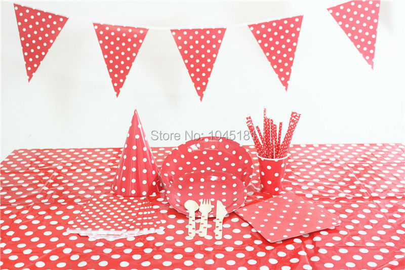 Red Party Tableware Paper Flags Napkins Bags Drinking Straws Disposable Paper Plates Cups Wooden Cutlery Party Hats Tablecloth(China (Mainland))