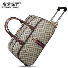 Men PU Leather Waterproof Trolley Bag Women Printed Travel Business School Luggage Duffle Bag Wheeled Bags Small&Large Sizes(China (Mainland))