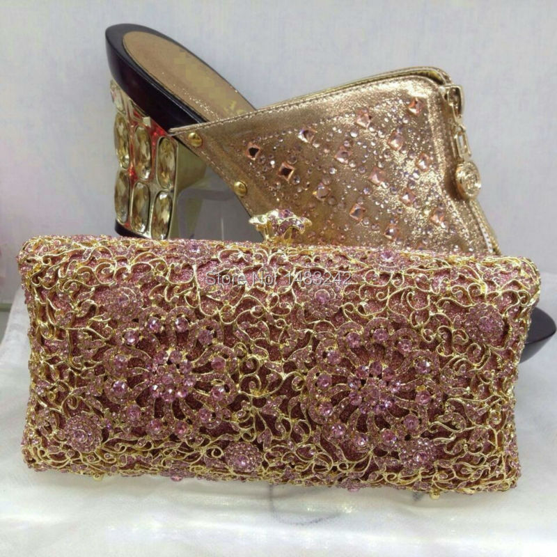 2015 Fashion nice matching shoes and bag set NO.AS-19.gold high heel  for retail/wholesale free shipping shoes and bag set<br>