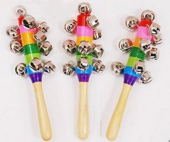 Free Shipping Multicolor Wooden Kids Shaking Bell Rainbow Rattles Wood Baby Toy Musical Instrument