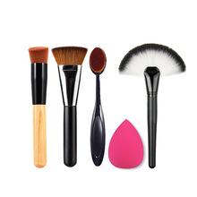 Buy 5 PCS/Set Makeup Powder Blush Foundation Brush+Sponge Puff+Large Fan Contour Brush Make Brushes Tool Cosmetics Kits RP for $7.15 in AliExpress store