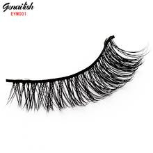 Genailish 1 Pair Mink False Eyelash Mink Lashes Fake eyelashes Handmade with High Quality Popular for Beauty Makeup-EYM001(China (Mainland))