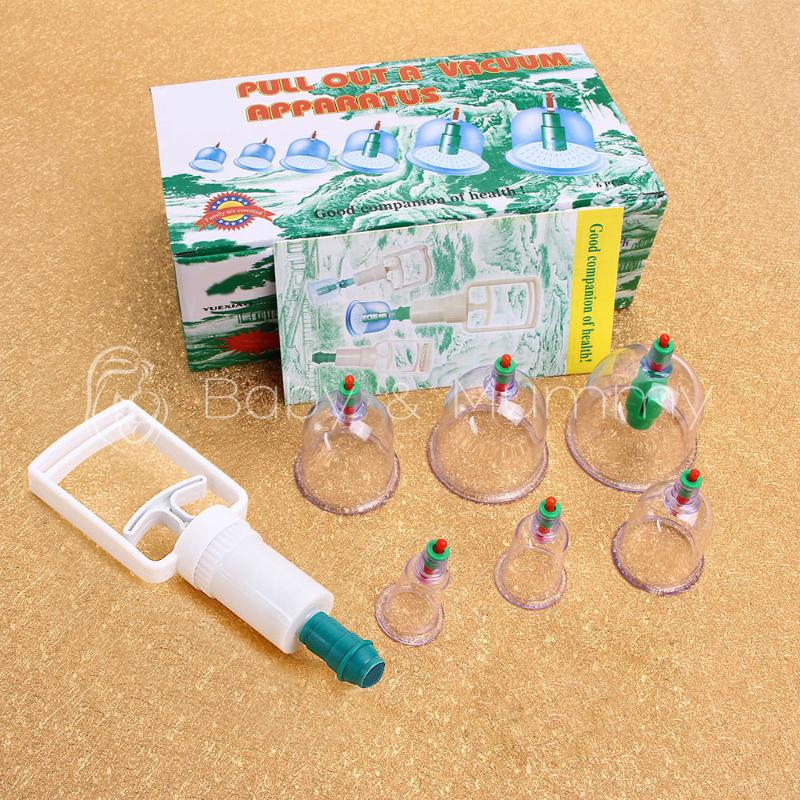 Cupping Set 6 Cups Vacuum Suction Pure physical therapy Body Healthy Care(China (Mainland))