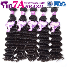 T1 7A Brazilian Deep Wave Virgin Hair Human Hair Weave Free Shipping Natural Color Hair 100% Unprocessed VIrgin Brazilian Hair(China (Mainland))