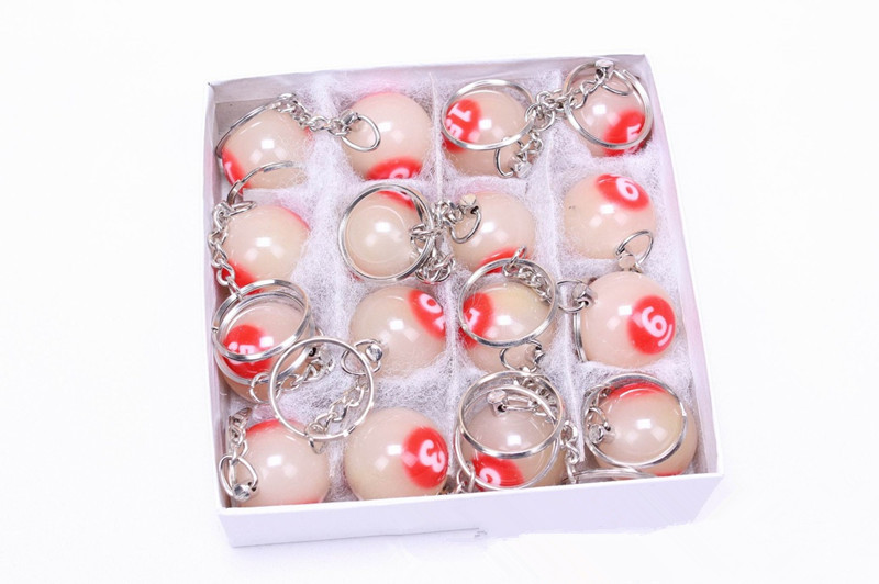 2.5cm Noctilucent billiard-ball-keychain /white&red /Decoration Pool game CUE ball black 8(China (Mainland))