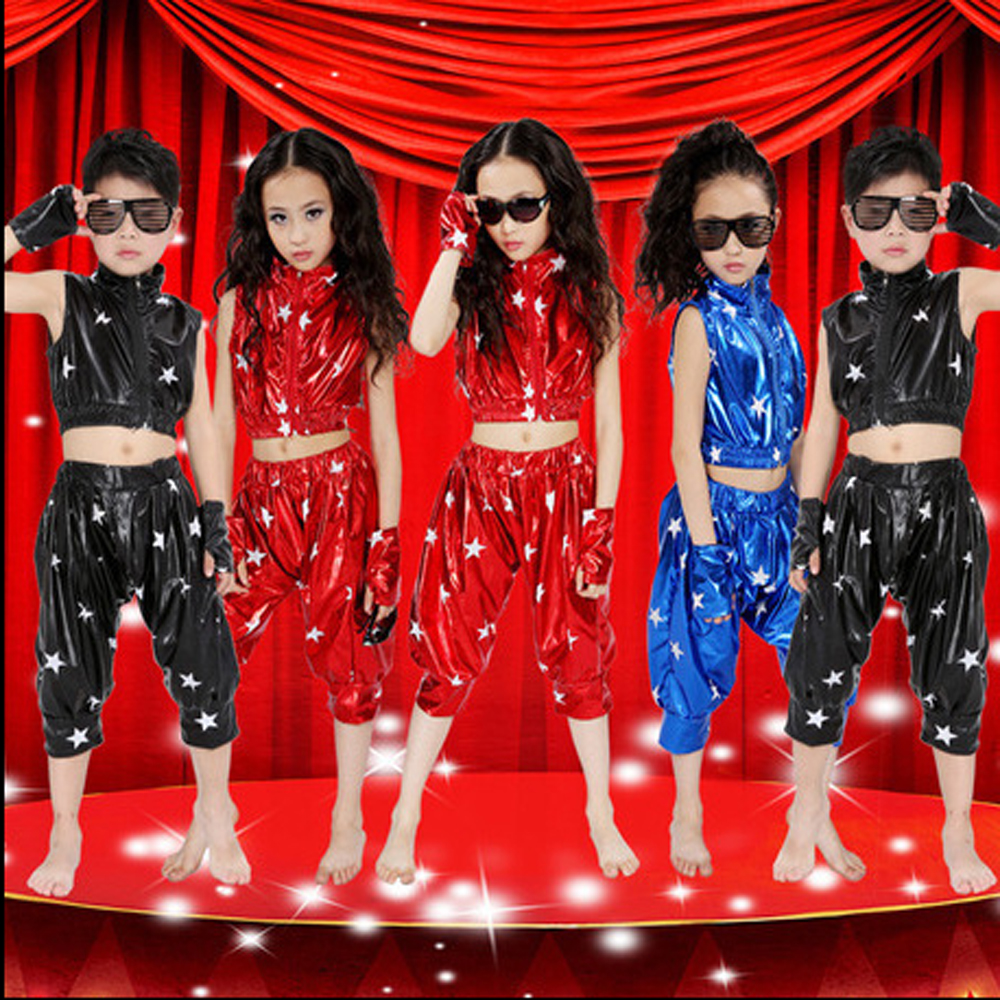 Modern children's hip - hop jazz dance performing clothes boys girls Five Star patent leather suit Holiday celebrations Children Performance Clothing store