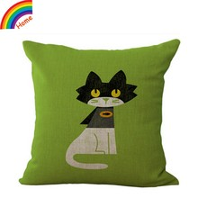 Cat Printed Cotton Linen Throw Pillow Case Cushion Cover