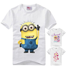 Cartoon figure children minions clothes costume children's clothing t shirts for Kids children clothes baby boys girls t-shirts