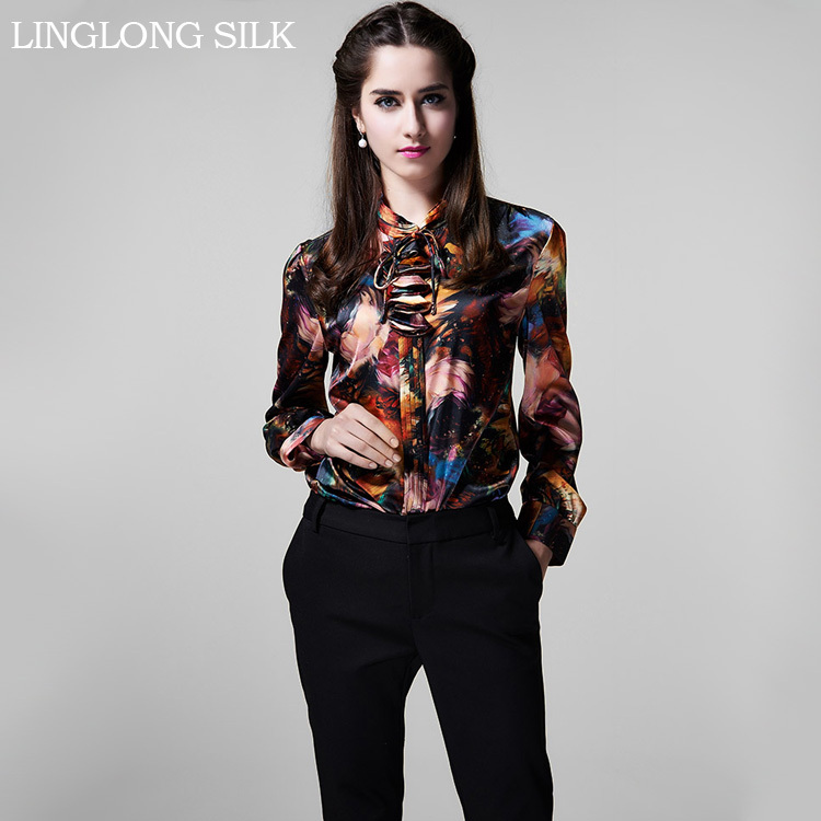Silk Charmeuse Shirt-1042/100% Natural Silk Fabric/Fashion Shirt Women/OL Women Tops/2015 New Desigual(China (Mainland))