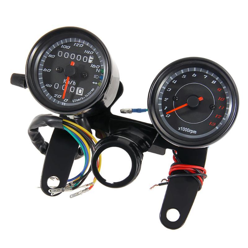 universal motorcycle led odometer tachometer 2 in 1 speedometer gauge with black bracket dc. Black Bedroom Furniture Sets. Home Design Ideas