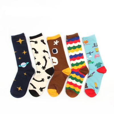 FreeShipping 2014 New Street Style Woman Cute Illustration Cotton Socks Fashion Skate Socks Cartoon Gift Socks F Size(China (Mainland))