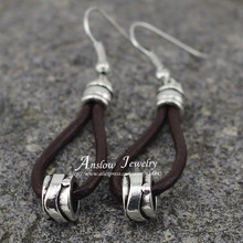 LOW0002LE Fashion Jewelry  New Arrival Retro Vintage Leather Earrings Cheap Price Wholesale Women Wedding Gift Free Shipping(China (Mainland))