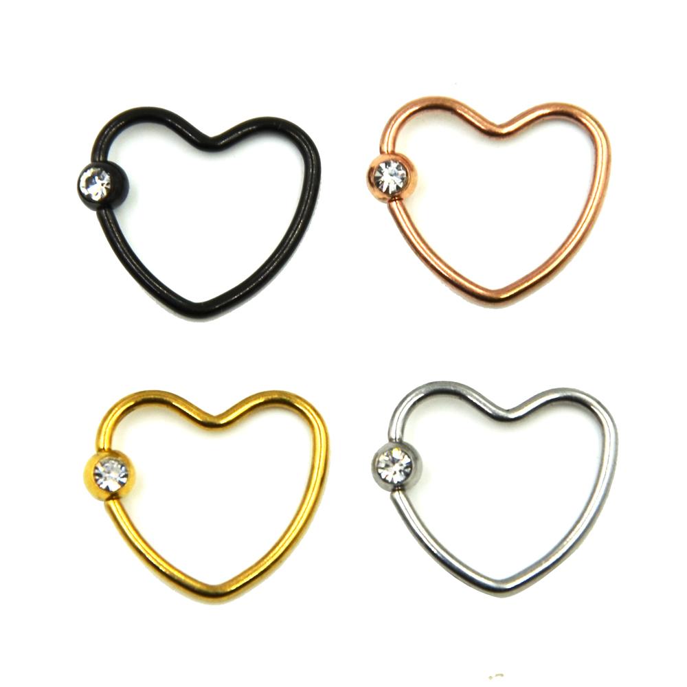 Anodized Colorful Cz Crystal Daith Heart Captive Bead Ring