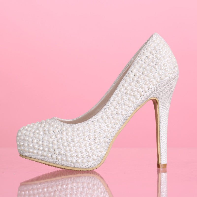 new arrival pumps white pearl wedding shoes