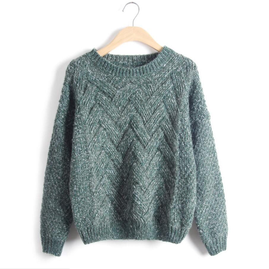Knitted Sweater 2016 Autumn Winter Fashion Designer Twist Chunky Cable Plaid Thick Knitted Jumper Women Sweaters And Pullovers(China (Mainland))