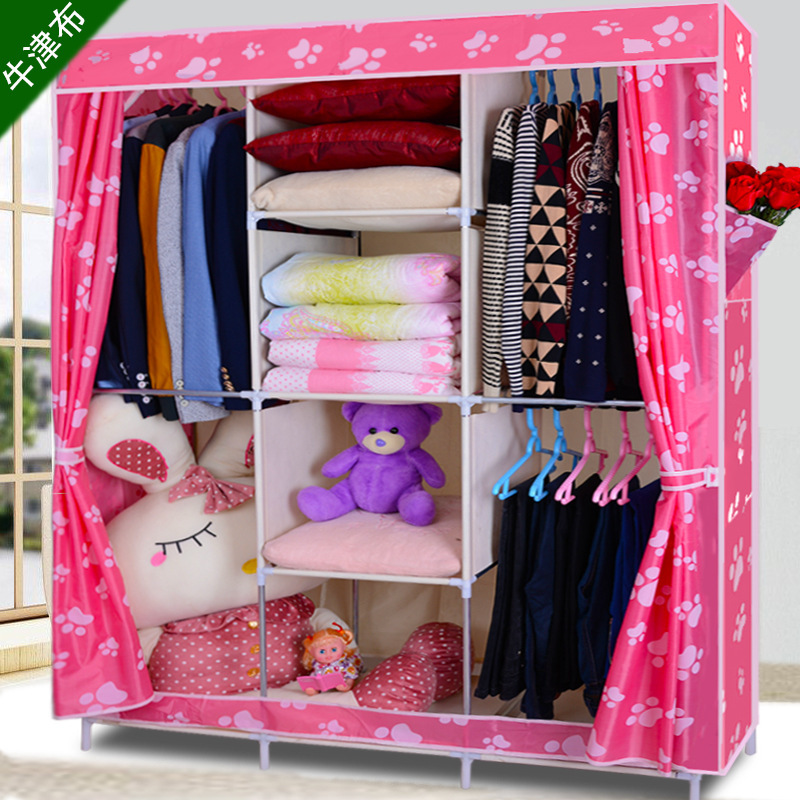 Oxford cloth wardrobe simple wardrobe steel reinforced thick steel assembled together folding wardrobe closet shipping special o(China (Mainland))