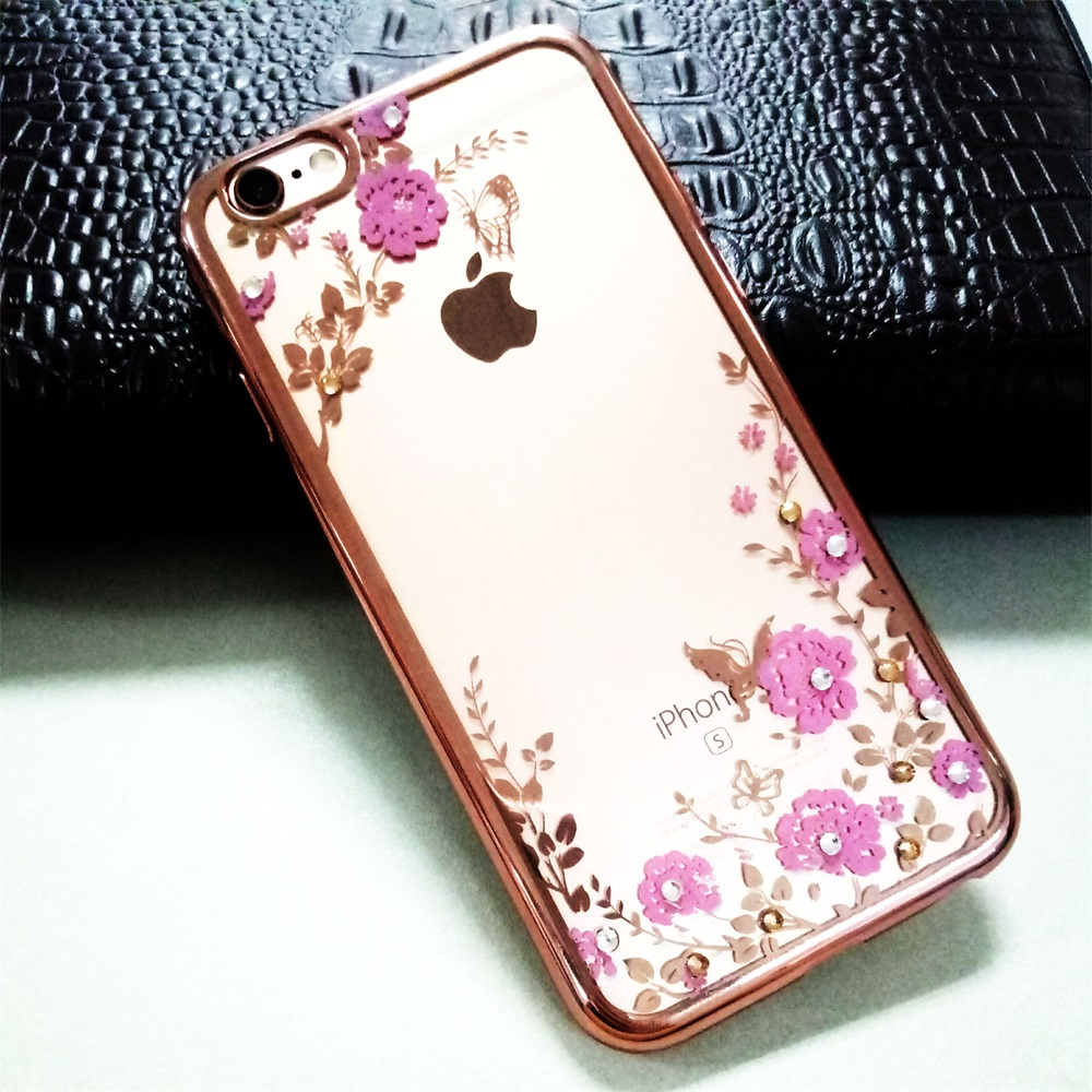 Bling Diamond Case for Apple iPhone 6 Plus Case Silicone Cover for Fundas iPhone 6S Plus Case Luxury Flower Soft TPU Clear Case(China (Mainland))