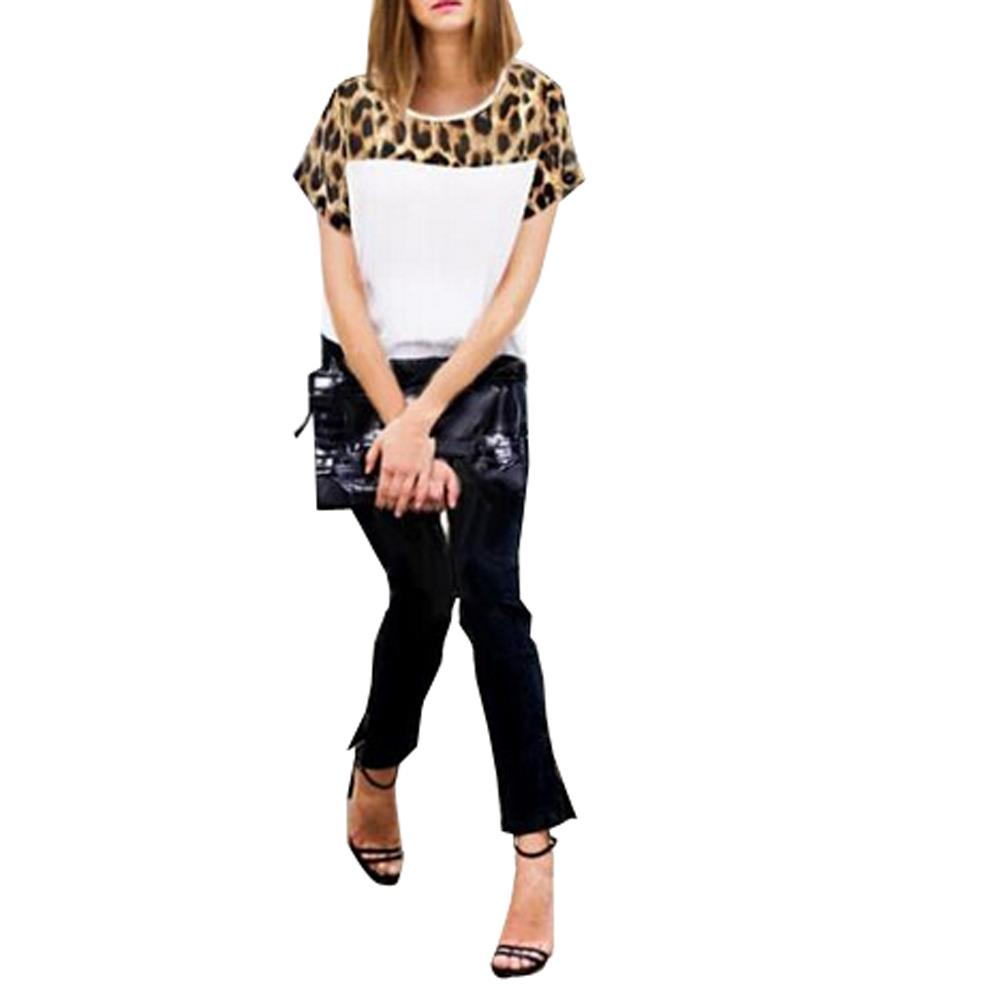 Casual Chiffon Blouse Women Leopard Plus Size Women Clothing Blusas Femininas 2015 White Shirt Roupas Femininas Women Tops(China (Mainland))