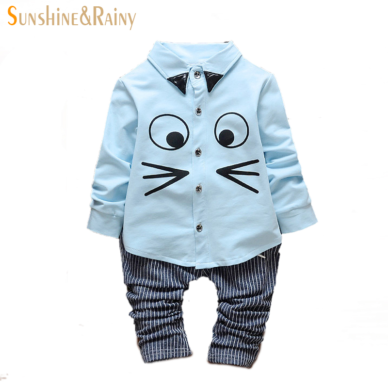 2016 spring baby bodysuit long-sleeved cute cat print big eyes sweet face baby boys clothes casual Bristling lines clothes set(China (Mainland))