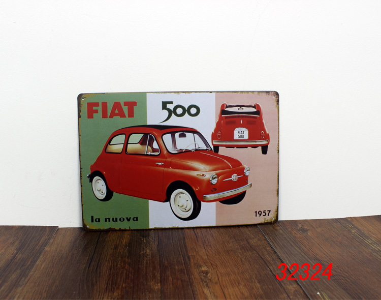 fiat 500 tin sign bar pub home wall decor retro metal art poster la nuova 1957 in metal crafts. Black Bedroom Furniture Sets. Home Design Ideas