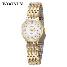 New 2016 Woonun Fashion Women Watches Gold Full Steel Analog Quartz-Watch Luxury Wristwatch Women Relogio Feminino Montre Femme