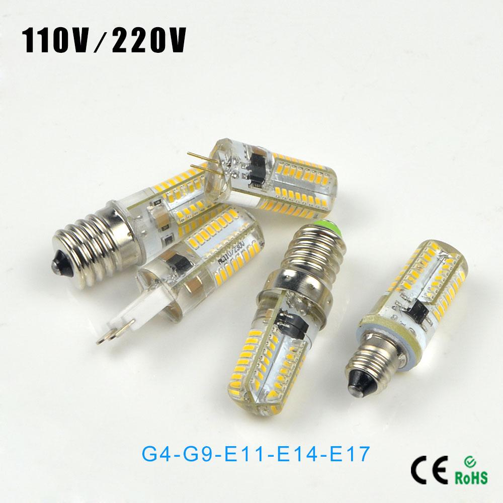 1X Mini 64LEDs G4 G9 E14 E11 E17 E12 LED Silicone Body dimmer LED Lamp 220V 110V 3014 SMD LED Light Bulb For Crystal Chandelier(China (Mainland))