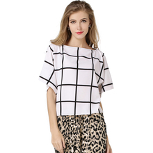 Women Plaid Chiffon Shirt Fashion Casual Black and White Color Slash Neck Loose Chiffon Top For Women 2016 New Women Bat Shirt