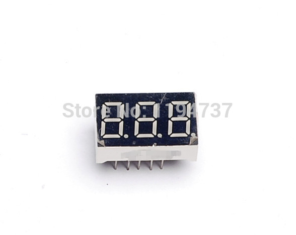 10pcs Free Shipping 0.36 inch 3 Bit Digital Tube Red Led Display Series Voltage Panel Common Cathode(China (Mainland))