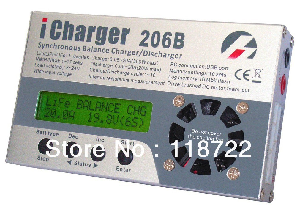iCharger 206B charger for RC MODEL/Model Planes/model air craft 1-6 series (In non-balance mode, expand LiFe to 8s) 20A 300W 8S<br><br>Aliexpress