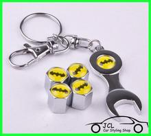 Free Shipping Batman car accessories Car Styling Car Wheel Tire Valve Caps with Mini Wrench Batman Keychain 4pcs/Pack(China (Mainland))