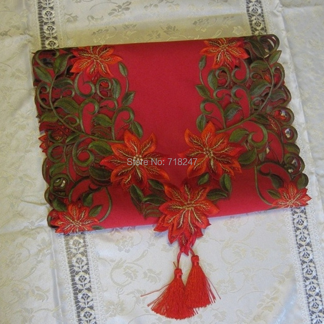 Wholesale 10pcs/lot 40*176cm Polyester Satin Christmas Embroidery Table Runner Cutwork Embroidered Xmas Table Linen Cloth Covers