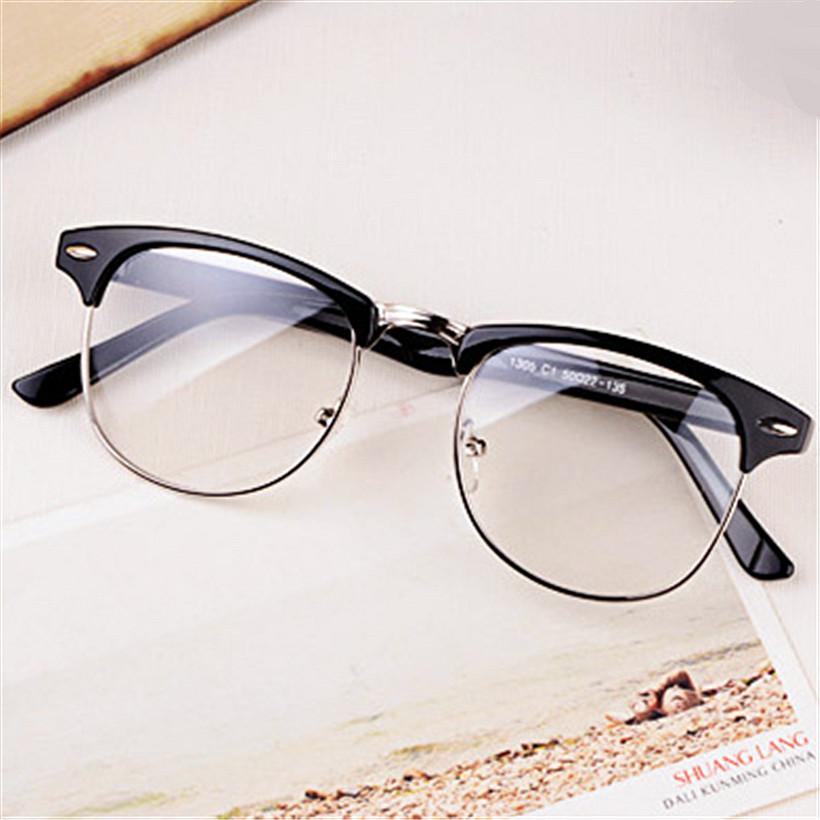 Hot Fashion Retro Half-frame Glasses Frame Men Women Optical Glasses With Clear Glass Transparent Glasses Women's Frame