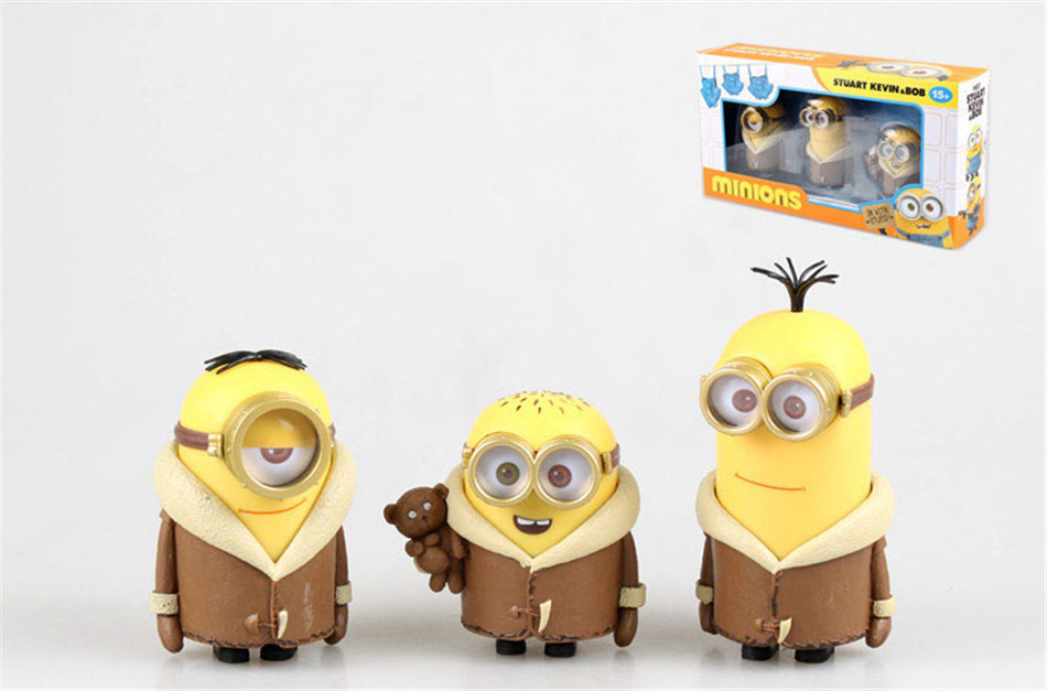 POP Toy Set 3PCS/set Minions toys yellow doll 3D eyes peluche Minion despicable me 2 Kid Toys Vinyl Boxed for Children Gift 0325(China (Mainland))
